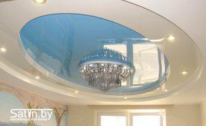 двухуровневый натяжной потолок бело синий