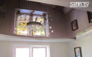 двухуровневый натяжной потолок для комнаты