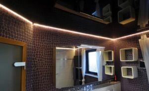 Парящий натяжной потолок ванная комната фото