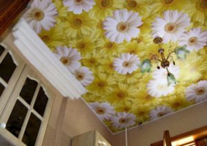 натяжной потолок фотопечать ромашки
