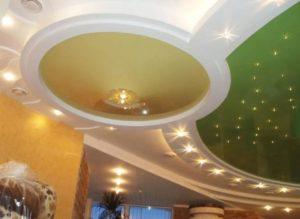 Многоуровневые натяжные потолки в Минске гостиная