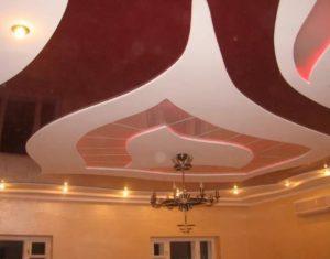 Многоуровневые натяжные потолки в Минске красный