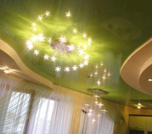 Многоуровневые натяжные потолки в Минске зеленый