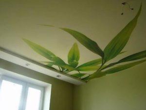 натяжной потолок фотопечать зеленые листья
