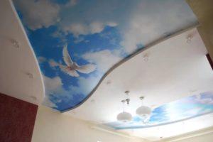 натяжной потолок фотопечать голуби в небе