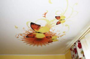 натяжной потолок с фотопечатью минск бабочки