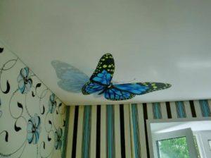 натяжной потолок с фотопечатью цена бабочки