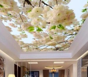 натяжной потолок фотопечать фото с цветами