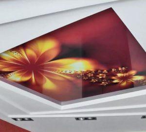натяжной потолок фотопечать цветы многоуровневый
