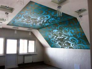 натяжной потолок фотопечать мансарда