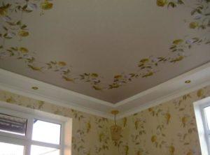 тканевый натяжной потолок фото с рисунком по контуру