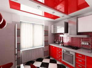 Натяжной потолок на кухне 49