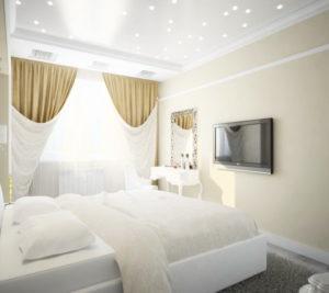 Натяжной потолок в спальне Минск