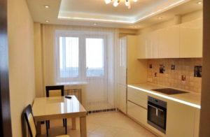 Натяжной потолок на кухне 35