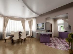Натяжной потолок на кухне 25