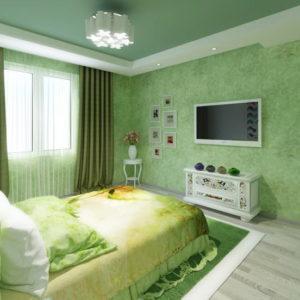 Натяжной потолок в спальне 58