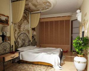 Натяжной потолок в спальне 57