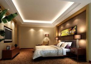 Натяжной потолок в спальне 56
