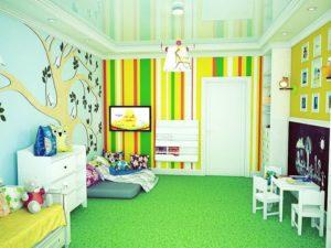 натяжной потолок в детской 52