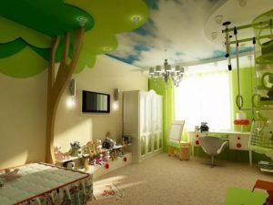 натяжной потолок в детскую 15