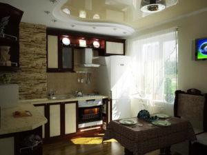 Натяжной потолок на кухне 50