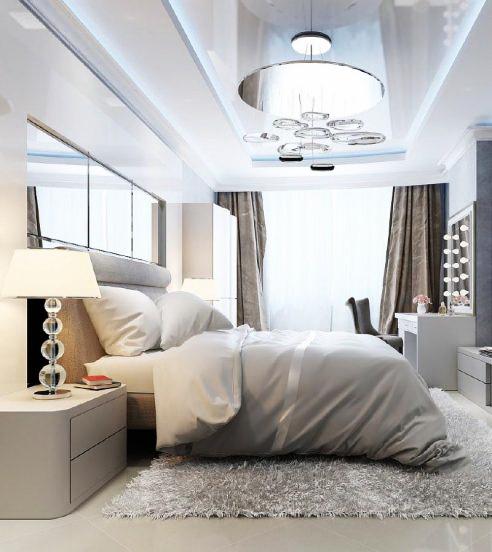 Натяжной потолок в спальне 50