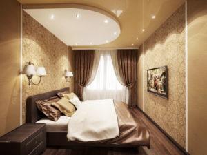 Натяжной потолок в спальне 49
