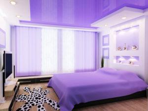 Натяжной потолок в спальне 47