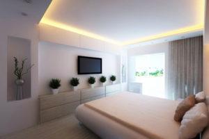 Натяжной потолок в спальне 46