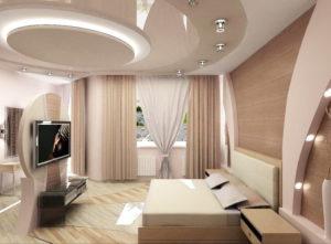 Натяжной потолок в спальне 44