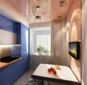 Натяжной потолок на кухне 16