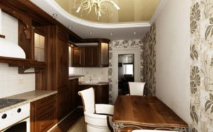 Натяжной потолок на кухне 7