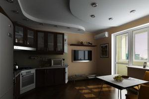 Натяжной потолок на кухне 26