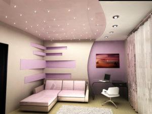 Натяжной потолок в спальню 19
