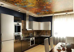 Натяжной потолок на кухне 9