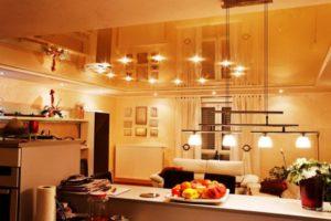 Натяжной потолок на кухне 11