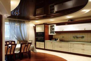 Натяжной потолок на кухне 6