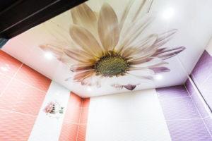 натяжной потолок в ванной 22