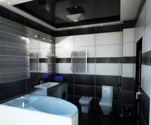 натяжной потолок в ванной 13