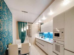 Натяжной потолок на кухне 47