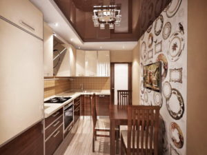 Натяжной потолок на кухне 44
