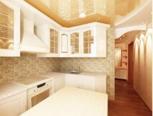 Натяжной потолок на кухне 37