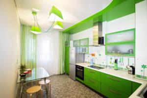 Натяжной потолок на кухне 46