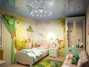 натяжной потолок в детской 30